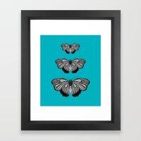 Butterflies On Teal Framed Art Print