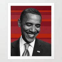 obama red stripes Art Print