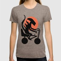 Alien On A Chopper Womens Fitted Tee Tri-Coffee SMALL