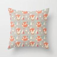 Baby Fox Pattern 01 Throw Pillow