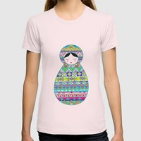 Russian Doll Womens Fitted Tee Light Pink SMALL