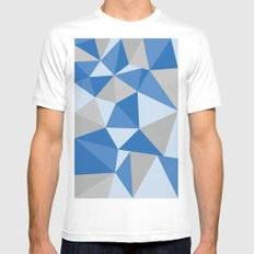 Blue & Gray Geometric SMALL Mens Fitted Tee White