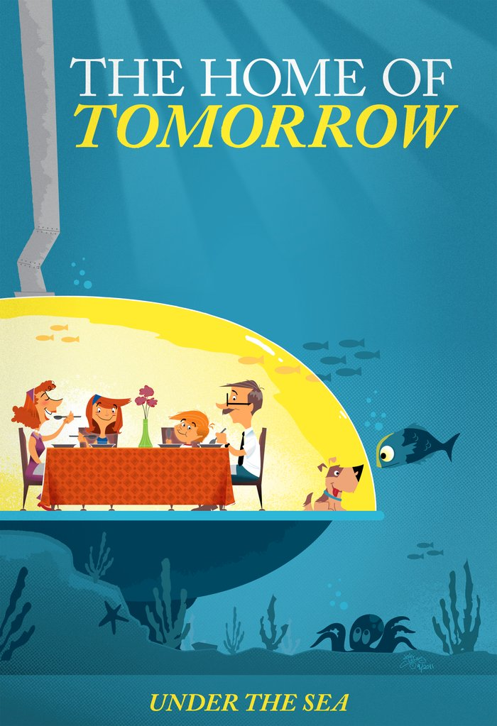 Undersea home of tomorrow art print by josh cleland society6 for Tomorrow s home