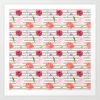 Peach Cream Stripes Watercolor Flowers Art Print