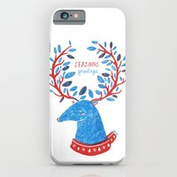 iPhone & iPod Case featuring Reindeer Seasons Greetings by Binnyboo