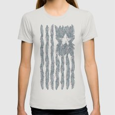America Feather Flag Womens Fitted Tee Silver SMALL