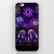 Chubby bunnies watch fireworks iPhone & iPod Skin