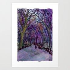 NYC Literary Walk in Purple Art Print