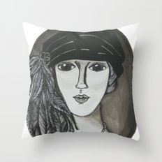Bright Eyed Girl Throw Pillow