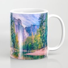 Mountain landscape with forest and river Mug