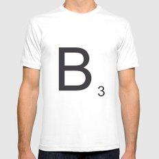 Scrabble B White Mens Fitted Tee SMALL