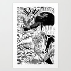 Spidey vs Lizard Art Print