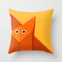 Geometric Cute Origami F… Throw Pillow