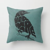 Throw Pillow featuring Quoth The Raven by Literary Mint