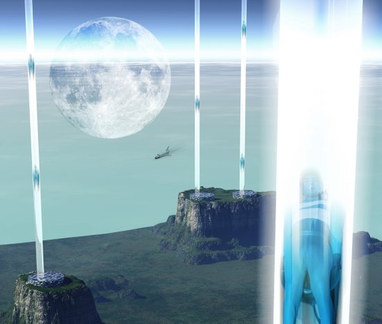 space elevator - transfer station 2099 Canvas Print