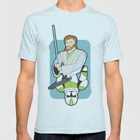 Obi-wan and Clone Trooper Mens Fitted Tee Light Blue SMALL