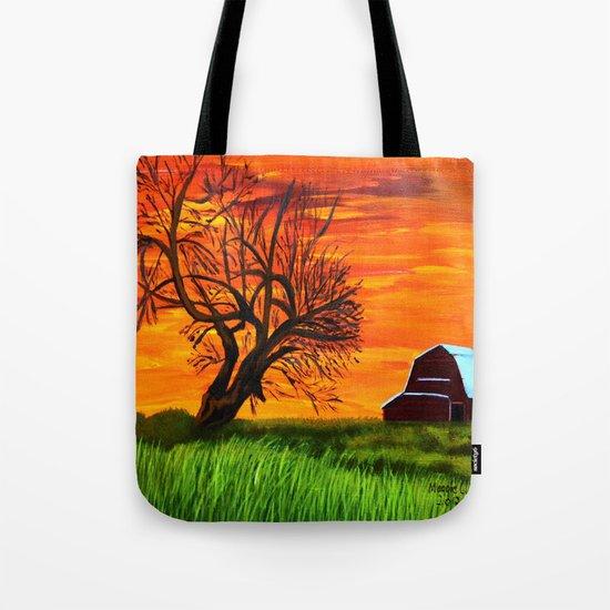 Sunrise on the old farm  Tote Bag