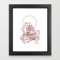 The Midnight Chateau Red Line Framed Art Print