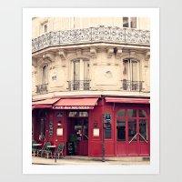 Red Paris cafe Art Print