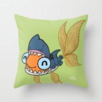 Goldfish In Shark Costum… Throw Pillow