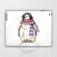 Baby Penguin in Red and Blue Scarf. Winter Season Laptop & iPad Skin