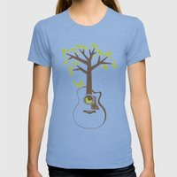 Birds & Acoustic Guitar Womens Fitted Tee Tri-Blue SMALL