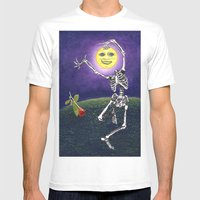 Skeleton Moon Mens Fitted Tee White SMALL
