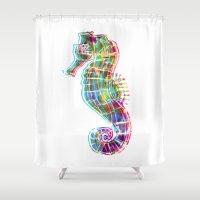 CMYK Seahorse Shower Curtain