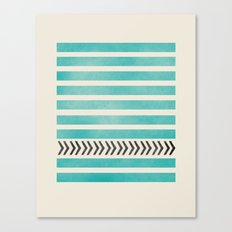 TEAL STRIPES AND ARROWS Canvas Print