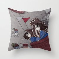 Through The Clouds And B… Throw Pillow