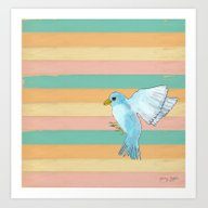 Flying Blue Bird Art Print