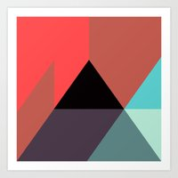 Black Triangle & Reds Art Print