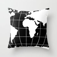 Map Of The World In Blac… Throw Pillow