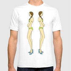 Brunette Twin Models Mens Fitted Tee SMALL White
