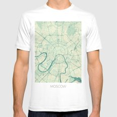 Moscow Map Blue Vintage Mens Fitted Tee SMALL White
