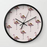 Flamingo and English Bulldog  Wall Clock