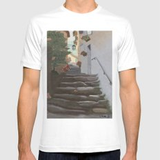 Italian Street and Stairs  Mens Fitted Tee White SMALL