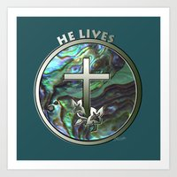 He Lives - Cross Art Print