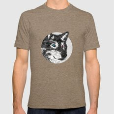 Gray wolf Mens Fitted Tee Tri-Coffee SMALL
