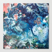 Color Commentary #15: Genesis (Teal {more blue than green} & Salmon) [Brianne Villano] Canvas Print