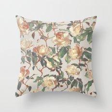 Soft Vintage Rose Pattern Throw Pillow