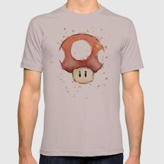 Red Mushroom Watercolor Mens Fitted Tee Cinder SMALL
