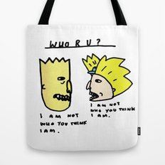 I Am Not Who You Think I Am - Bart Simpson, Hey Arnold  Tote Bag