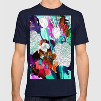 Forest Flowers 3 Mens Fitted Tee Navy SMALL