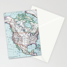 Colorful Vintage North America Map Stationery Cards