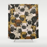 Shower Curtain featuring Social Pugz by Huebucket