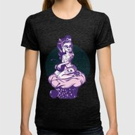 Cupcake Pin Up Womens Fitted Tee Tri-Black SMALL