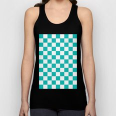 Checker (Tiffany Blue/White) Unisex Tank Top