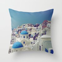 Blue Domes, Oia, Santorini, Greece Throw Pillow