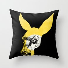 Fawn in Headlight Throw Pillow